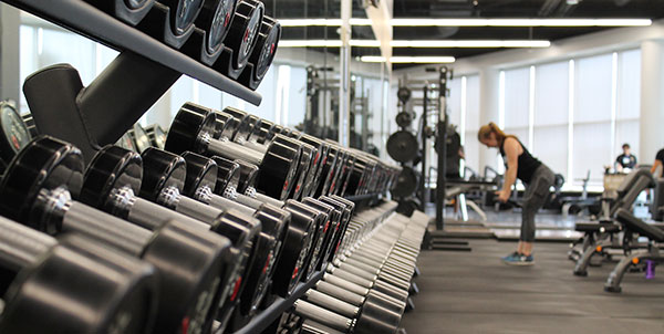 weight rack at a gym